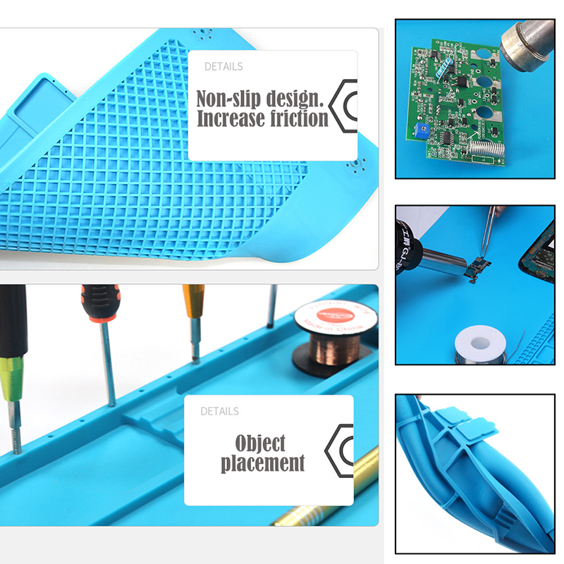 S-170 S-160 S-140 S-130   Heat Insulation Silicone Soldering Pad Mat Desk Maintenance Platform For Repair Station With Magnetic