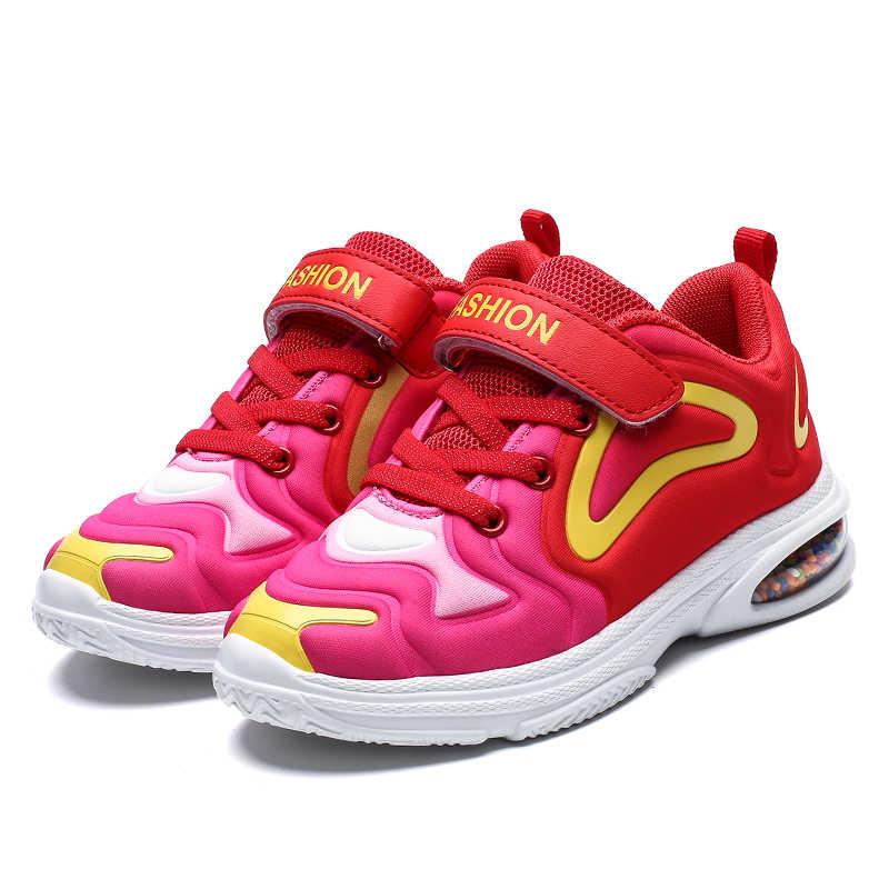Sapatos Meninos Crianças Grandes Meninas Da Escola de Moda Porpcorn Almofada de Ar Tênis Luz Respirável Calçados Esportivos de Peso Tamanho 32- 39