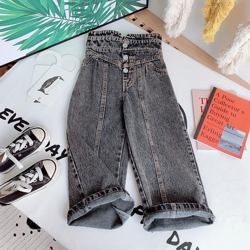 Girls Wide-legged Jeans Spring And Autumn Children Loose Straight Soft Denim Pants Chubby Kid High Waist Jeans 4