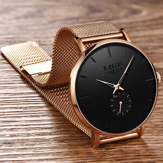 2020LIGE Brand Luxury Women Casual Watch Waterproof Wristwatch Women Fashion Dress Full Stainless Steel Ladies Clock Reloj Mujer