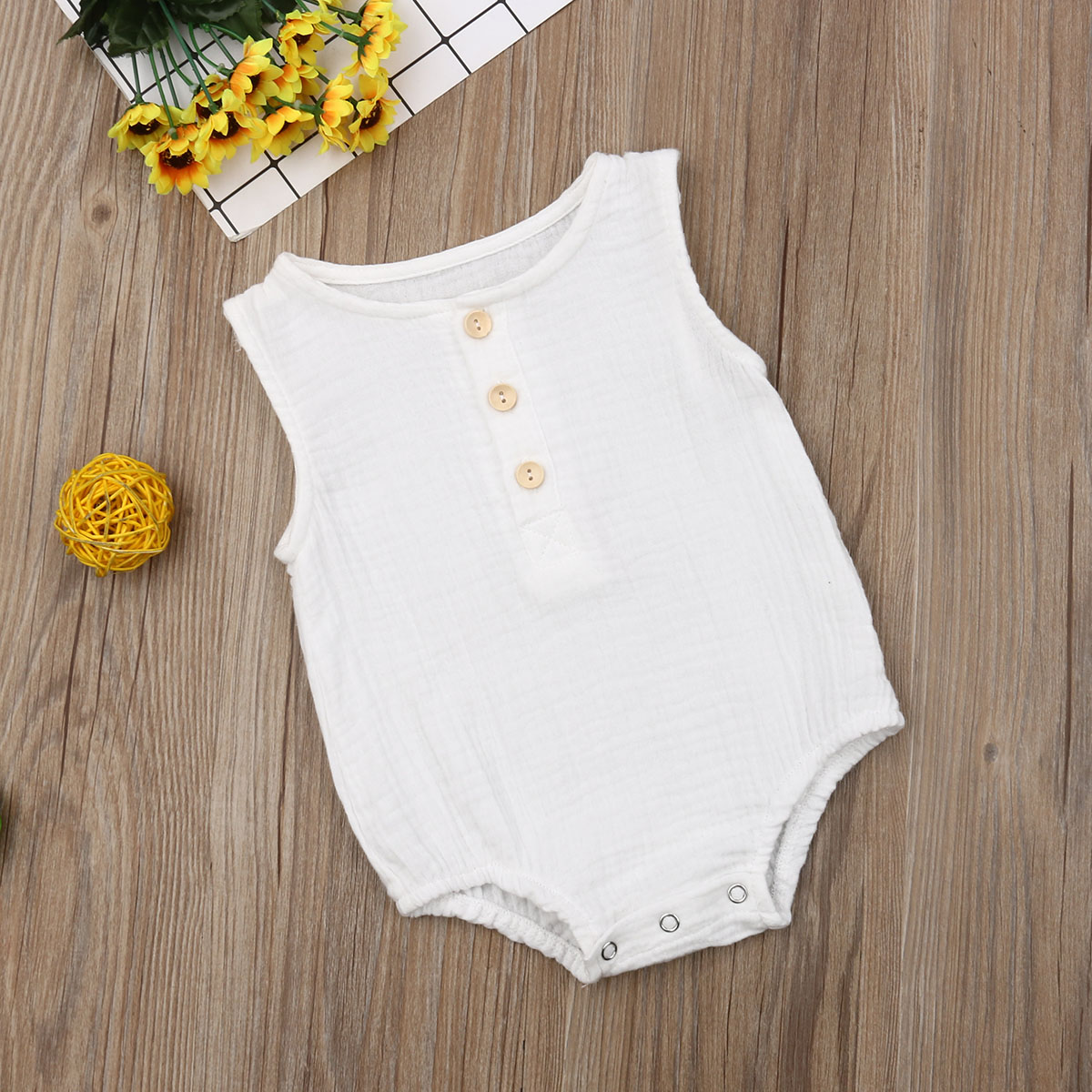 <font><b>Baby</b></font> Boys <font><b>Romper</b></font> Summer Infant <font><b>Unisex</b></font> Newborn Button Sleeveless Girls Solid One-pieces Jumpsuit <font><b>Baby</b></font> Cotton Linen Clothes Outfit image