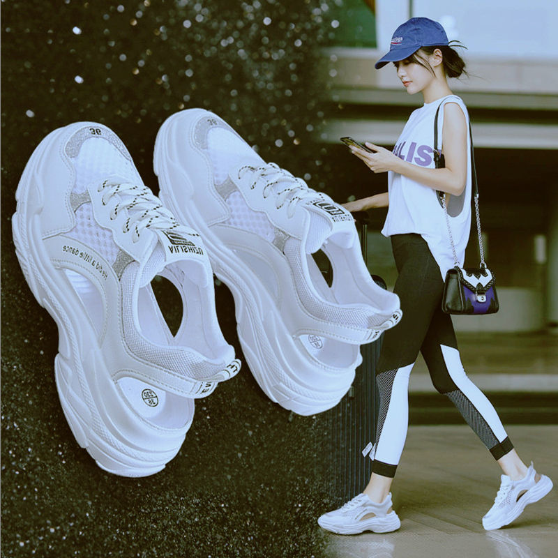 2020 Summer New Sports Sandals Breathable Women Summer Shoes Platform Thick Sole Sandal Lace-up Hollow-out White Grey Black