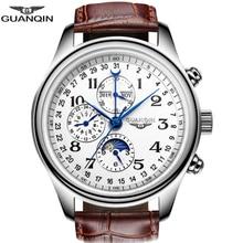 Guanqinレロジオmasculino自動サファイア機械式メンズ腕時計防水カレンダー革腕時計otomatik erkek saat