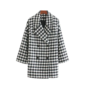 Vintage Stylish Double Breasted Houndstooth Jacket Coat Women 2019 Fashion Long Sleeve Side Pockets Plaid Outerwear Chic Tops