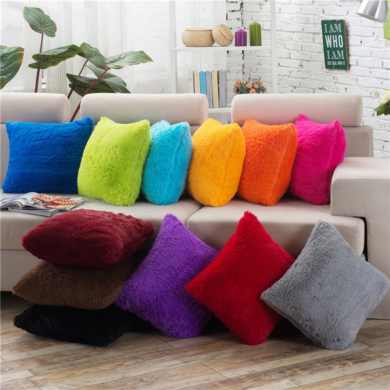 Plush Decorative Pillow Covers Fluffy 40x40 Cushion Cover Throw Pillows Sofa Car Home Decoration White Gray Black Pillowcase