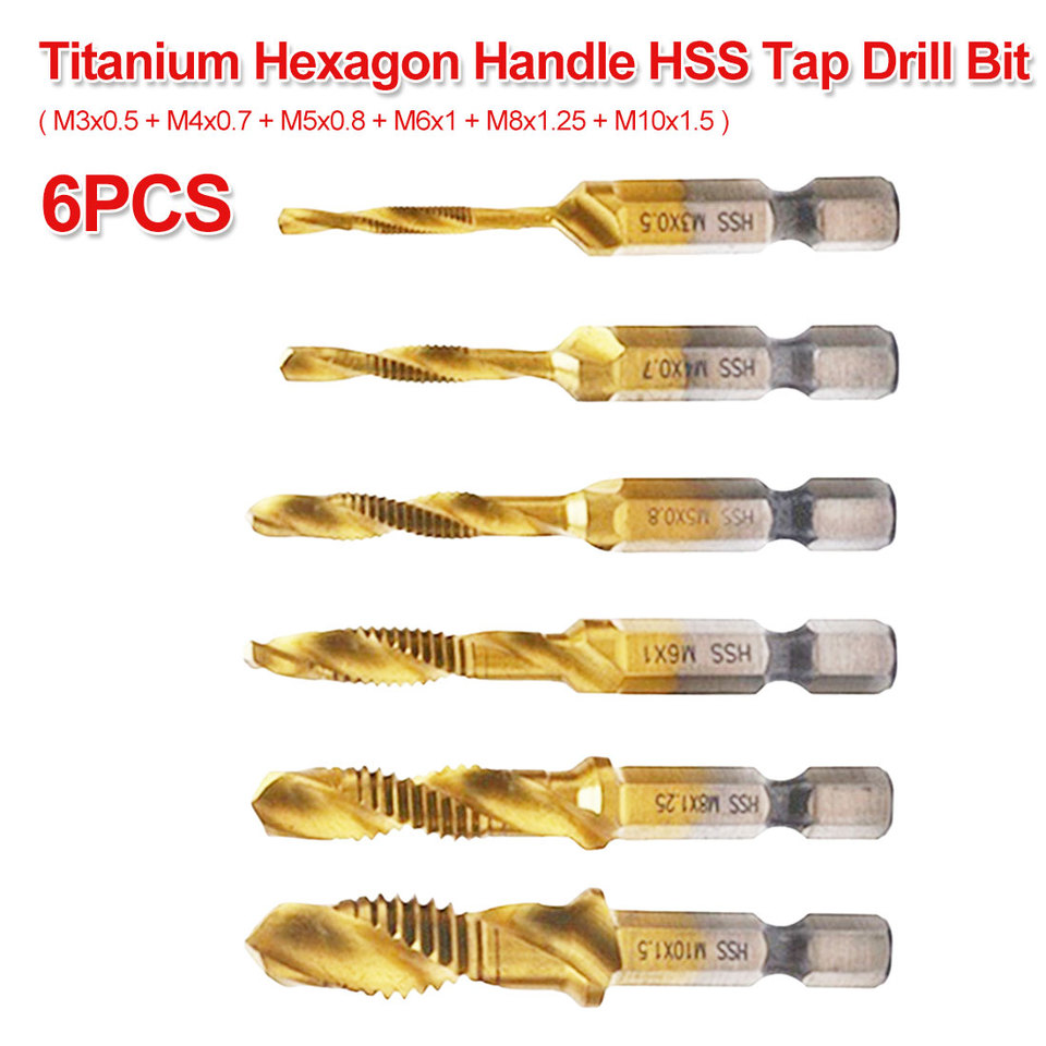 "6PCS M3-M10 Metric Thread Titanium Coated HSS Drill and Tap Bits 1//4/"" Hex Shank"