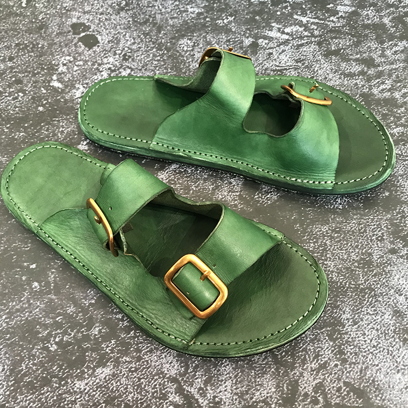 Mode echt lederen casual schoenen mannen wandelen strand slippers heren slippers handgemaakte lederen sandalen - 3