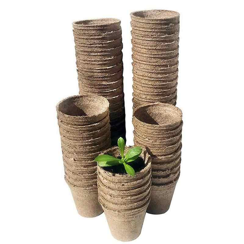 Biodegradable Paper Pulp Peat Pots Plant Nursery Cup Tray Garden New