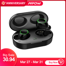 Upgraded Mpow T6 TWS Earbuds Bluetooth 5.0 Earphone IPX7 Waterproof Wireless Touch Control Earphones for Windows iOS Android mpow tws t6 black mpbh333ab