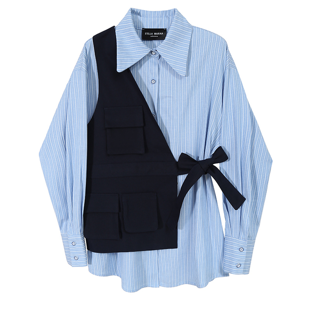 VeryYu 2020 Fall Blue Striped Blouse Long Sleeve Shirt Fashion Color: 6675 Blue  VeryYu the Best Online Store for Women Beauty and Wellness Products