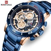 NAVIFORCE Stainless Steel Strap Mens Quartz Watch Luxury Waterproof Chronograph Man Watches Business Men Clock Relogio Masculino|Quartz Watches| |  -