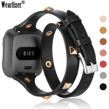 Wearlizer Double Band for Fitbit Versa 2 Strap Soft Genuine Leather Wraps Unique Rivet Wristband Accessories