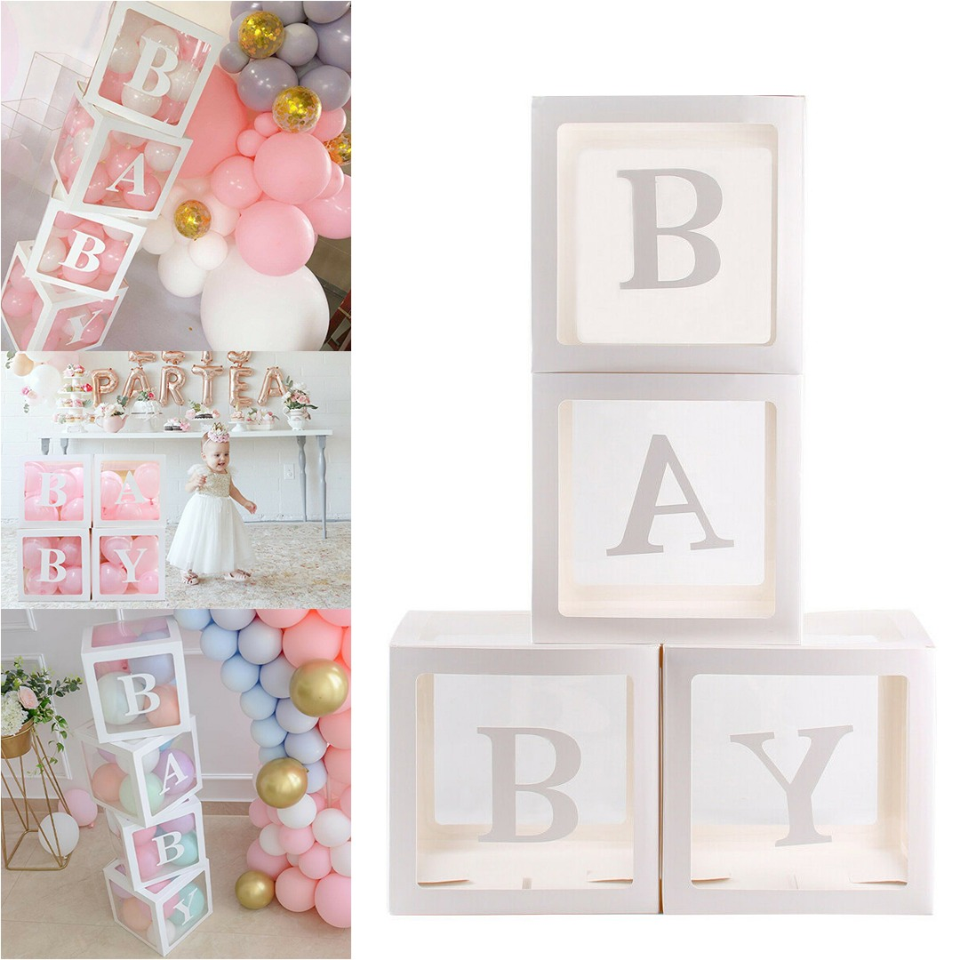 4Pcs Clear Cardboard Cube Box Boy Girl Baby Shower Birthday Party Plastic Ball Box Case DIY Xmas Party Decoration Supplies
