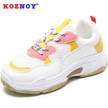Koznoy Sneakers Women 2019 New Thick Bottom Dropshipping Torre Shoes Mixed Colors Fashion Breathable Sewing Leisure