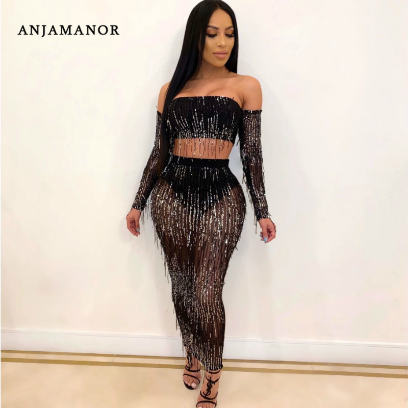 ANJAMANOR Sexy 2 Piece Club Outfits Mesh Sequin <font><b>Tassel</b></font> Two Piece Off Shoulder Long Sleeve <font><b>Top</b></font> Maxi <font><b>Skirt</b></font> Matching <font><b>Sets</b></font> D30-AG27 image