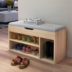Multifunction Shoes Cabinet Large Wooden Storage Rack Stool Padded Seat Sofa bench Shoes Organizer Cabinet Living Room Furniture