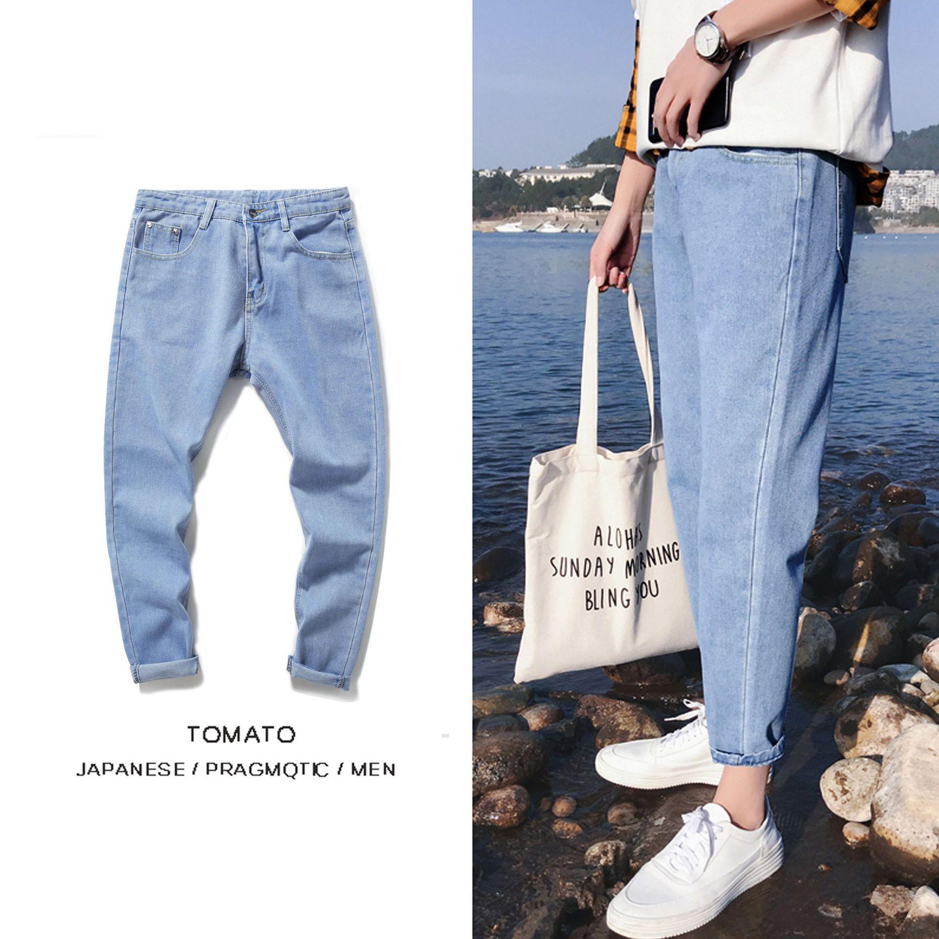 New Style Capri Pants Men's Light Color Summer BF Style Straight-Cut Jeans Students Versatile Pants Trend Teenager Men's Trouser