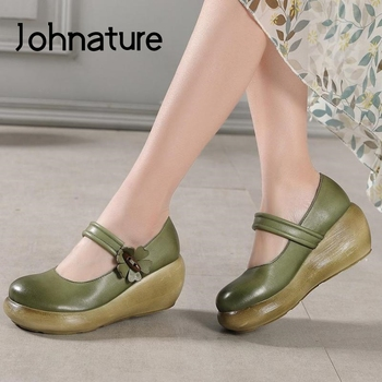 Johnature Pumps Women Shoes 2020 New Retro High Heels Round Toe Genuine Leather Wedges Buckle Strap Casual Platform Ladies Shoes