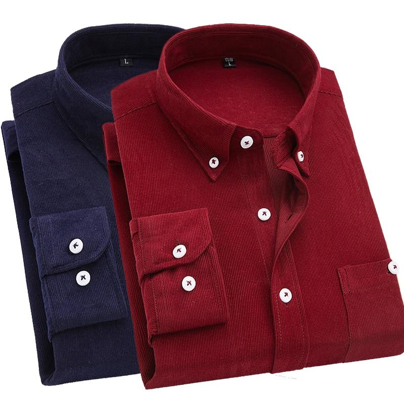 2019 Men Shirt Long Sleeve Slim Fit Brand Corduroy Shirt Men Business Shirts 5XL Men Clothing Soft Comfortable Camisa Masculina