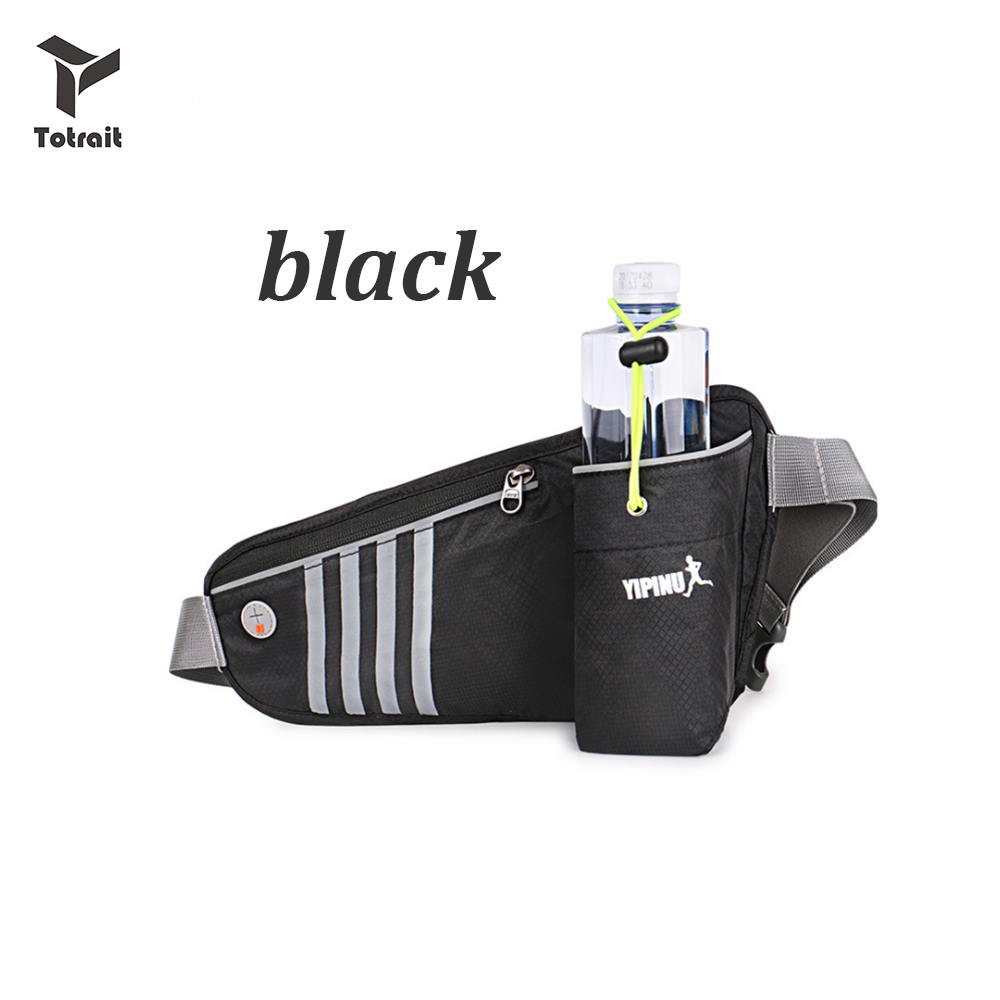 Unisex Waist Purse Angel Wings Fanny Pocket Adjustable Running Sport Waist Bags Black
