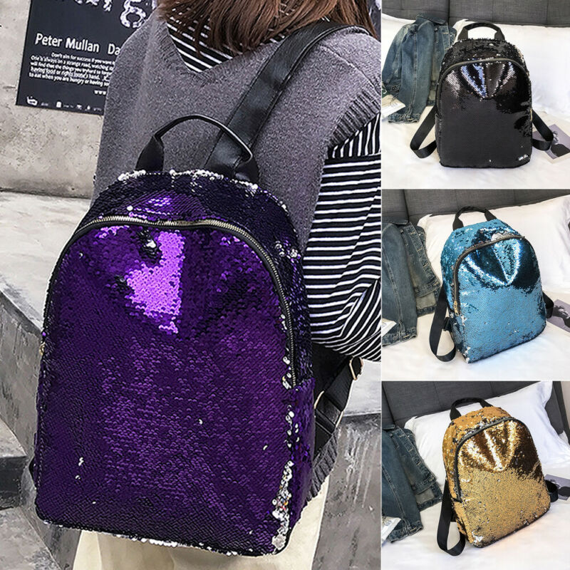1PC New Women Fashion Backpack Sequin Glitter Shoulder School Rucksack Ladies Girls Shiny Travel Bag