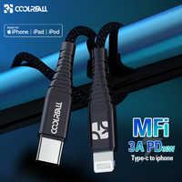 Coolreall PD USB C a Lightning Cavo di Ricarica Veloce 36W MFi Certificato C94 Per iPhone X XS XR 8 plus. MAX iPad Macbook Pro Cavo USB