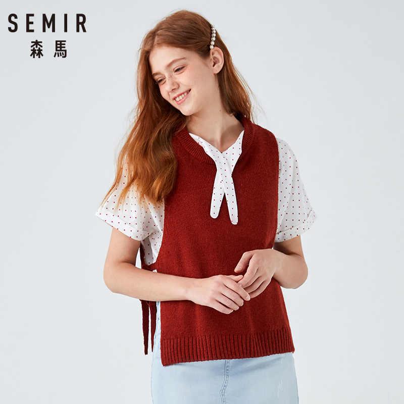 Semir ผู้หญิงถักหญิงฤดูหนาว Chic เสื้อกั๊กแขนกุดสวมใส่เกาหลีรุ่น Retro เสื้อกันหนาวผู้หญิง