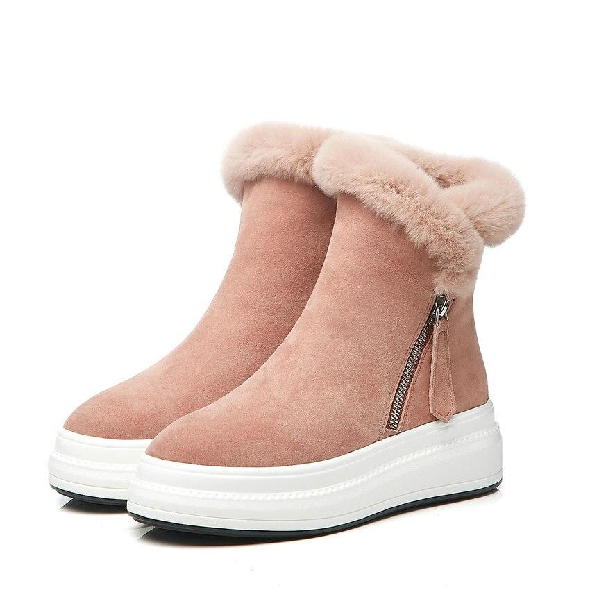 ENMAYER 2019 mode enfant daim bottines pour femmes bout rond plat avec talon Zip hiver neige bottes en peluche femmes chaussures taille 34 40 - 2