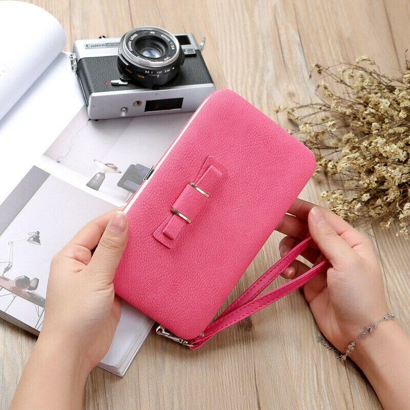 Women Girls PU Leather Clutch Wallet Long Card Holder Purse Handbag Phone Bag