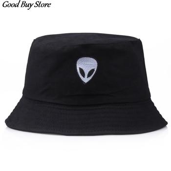 Embroidered Alien Bucket Hat Foldable Cotton Sun Hats Street Style Headwear Fisherman Cap Men Woman Hip Hop Casual Panama Summer