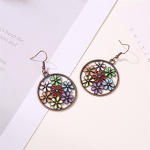 Sun Flower Pendant Earrings Ethnic Style Color Flowers Bohemian Female Retro Glamour Beach Party Jewelry