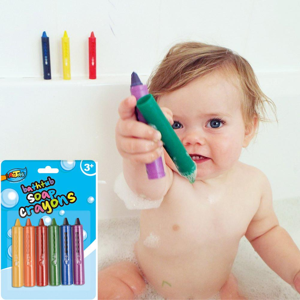 Kidlove 6PCS/Set Baby Bathroom Crayons Washed Color Bath Toy