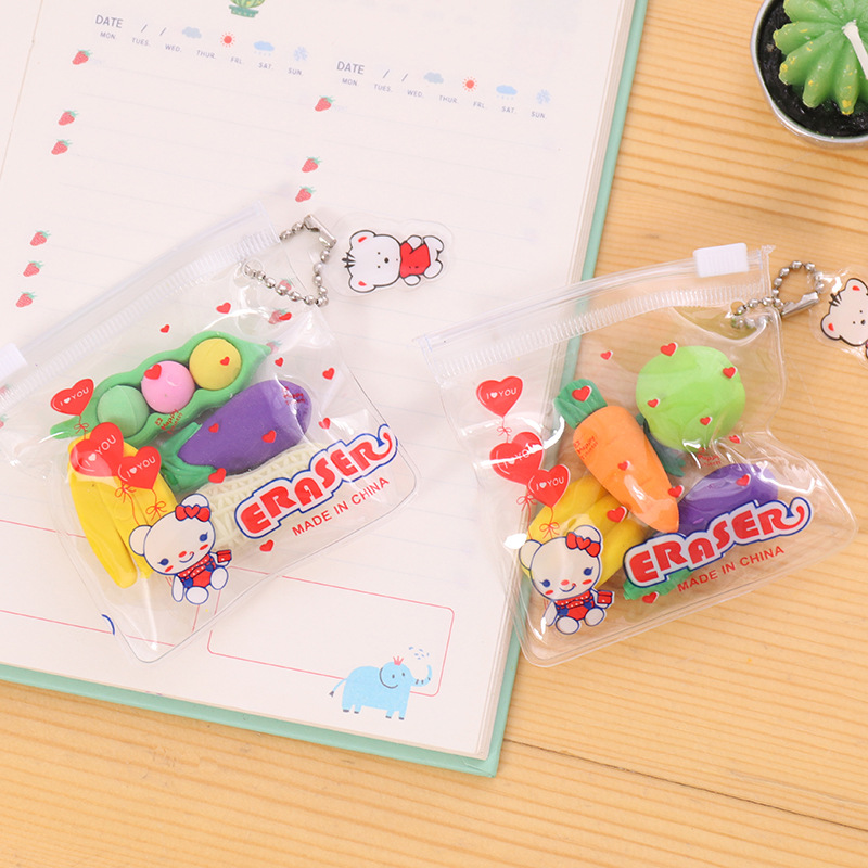4 Pcs/set Kawaii Erasers Rubber Erasers For Kids Cute Creative Vegetable And Fruit Shape Zipper Bag Rubber School Stationery