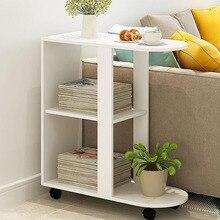 Съемный деревянный журнальный стол кофейный, чайный столик для Гостиная диван-кровать с небольшой обеденный стол для чтения с 2 Слои полки