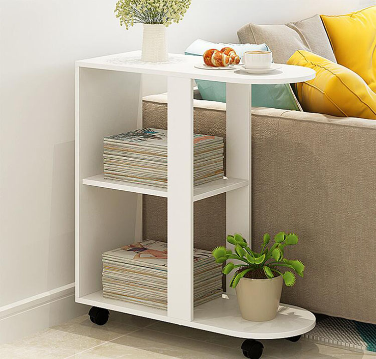 Removeable Coffee Table Wooden Coffee Tea Table For Living Room Sofa Bed Beside Small Dining Reading Table With 2 Layer Shelves