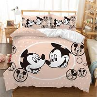 Disney Mickey Minnie Mouse 3D Printed Bedding Sets Adult Twin Full Queen King Size White Black Bedroom Decoration Duvet Cover