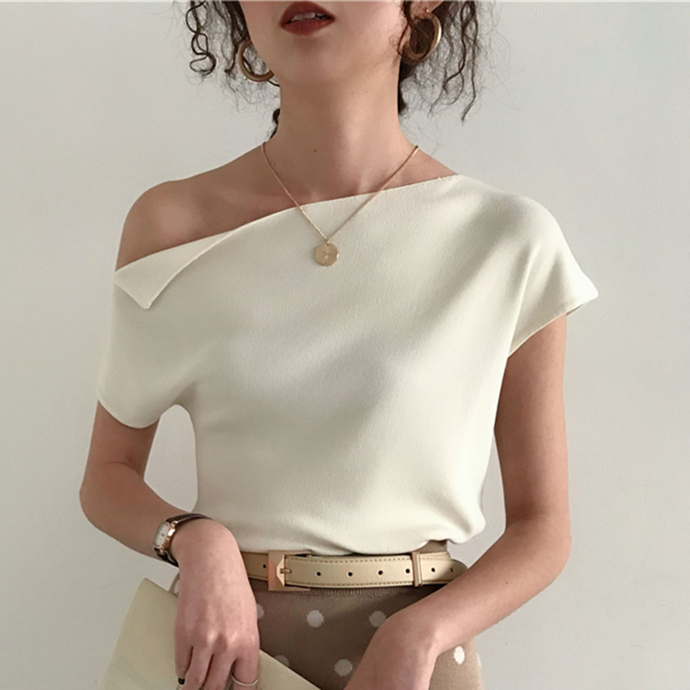 2020 Korean Style Knitted Top Women T Shirt Summer Sexy One Shoulder Ice Silk Knitting Tshirt Casual Street Chic Tees 7 Colors