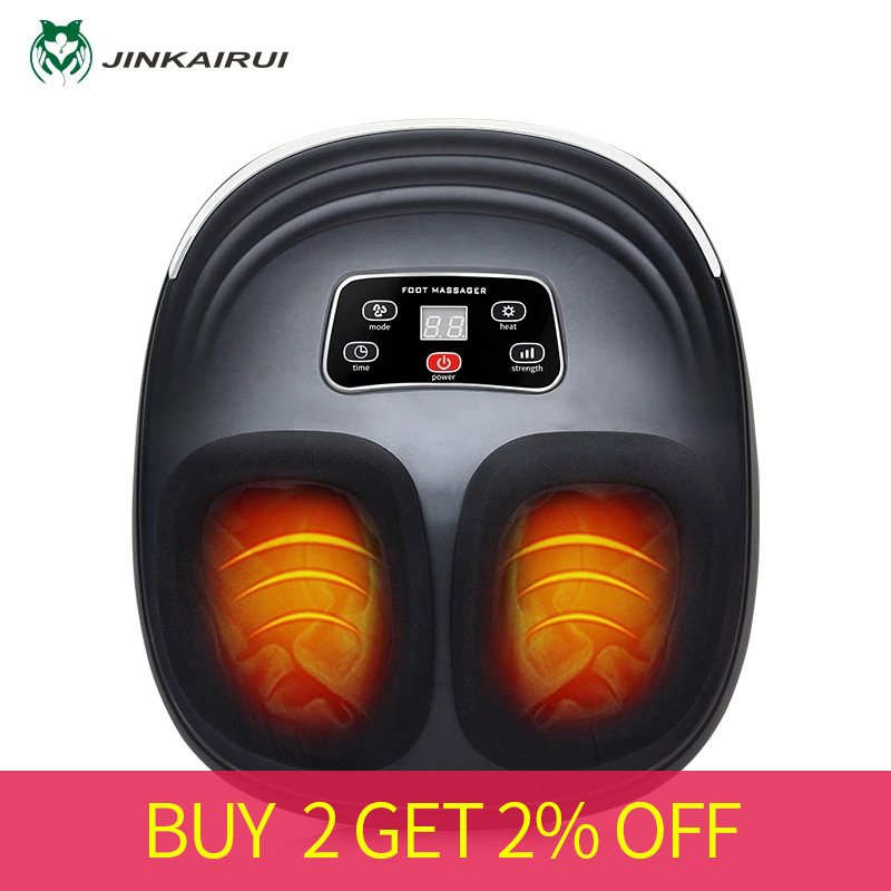 JinKaiRui Electric Vibrator Foot Massager Shiatsu Kneading Vibrator Massage Machine Infrared Heating Therapy Health Care Device