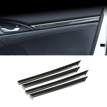 Car Styling Fit For Honda 10th Gen Civic sedan 2016-2020 Stainless Carbon fiber pattern Car Inner door trim Decorative strips