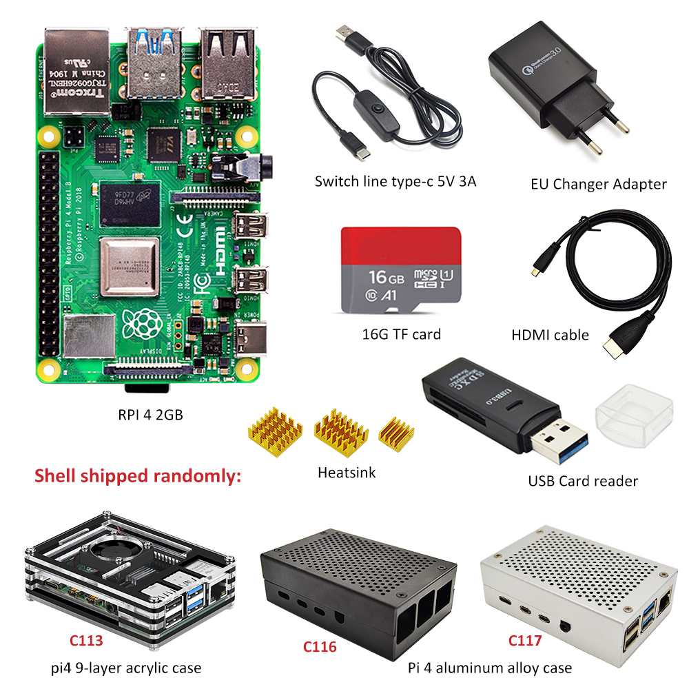 Raspberry Pi 4 B 2GB kit 3 arten von fall + EU power adapter + schalter linie + 16 GB/32 GB TF karte + USB kartenleser + HDMI kabel