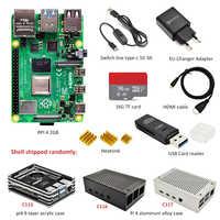 Raspberry Pi 4 B 2GB kit 3 types de boîtier + adaptateur secteur EU + ligne de commutation + carte TF 16 GB/32 GB + lecteur de carte USB + câble HDMI