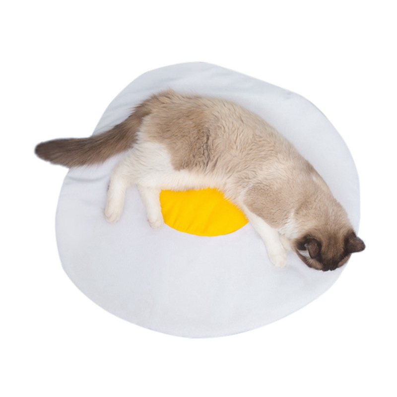 Pet Cat Litter Teddy Small Dog Kennel Mat Cute Egg Yellow Nest Omelette Pad Design Comfortable Sleeping Pad Products in Cages from Home Garden