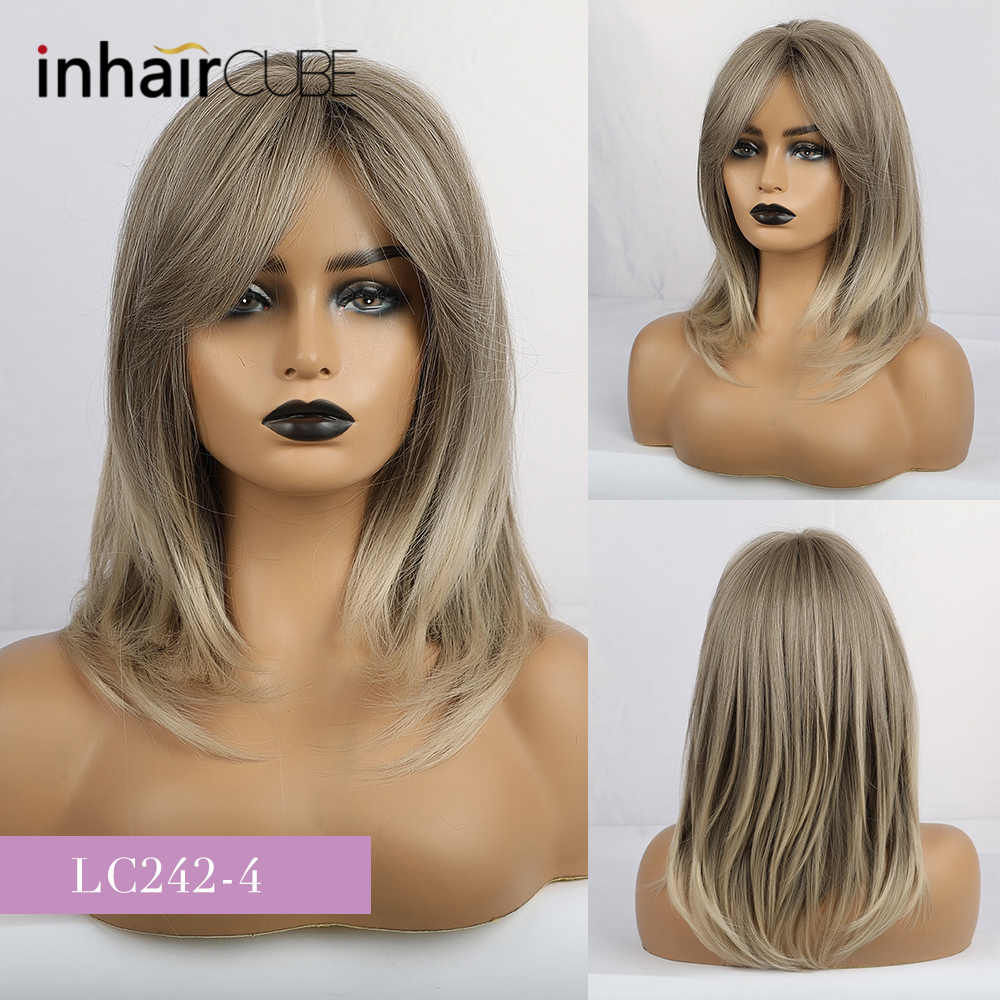 Inhair küp kadın saç peruk parti günlük doğal dalga koyu kahverengi yan kısmı sentetik peruk patlama ile ücretsiz kargo