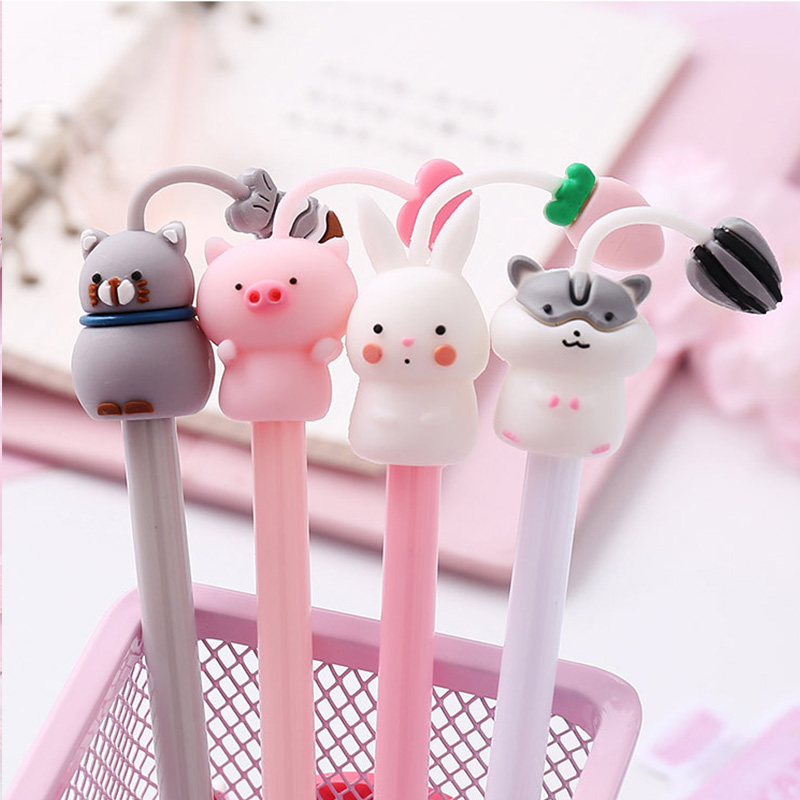 Creative Cat Hamster Rabbit Pig Gel Pen Cute 0.5 Mm Black Ink Signature Pen Stationery Gift  School Writing Supplies