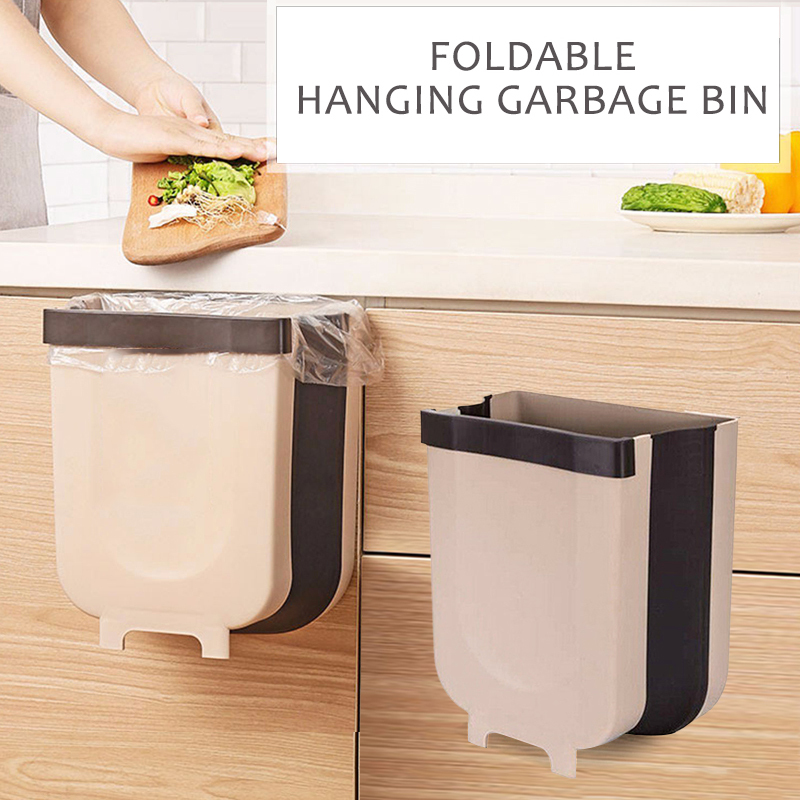 Kitchen Accessories Save SpaceFolding Waste Bin Kitchen Cabinet Door Wall Mounted Trashcan For Bathroom Toilet Waste Storage