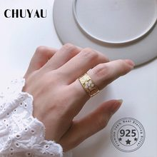 Chuyau 925 Sterling Silver Flower Gold Ring Resin Printing Big Adjustable Silver Wide Rings Girls Women Fashion Jewelry Gifts(China)