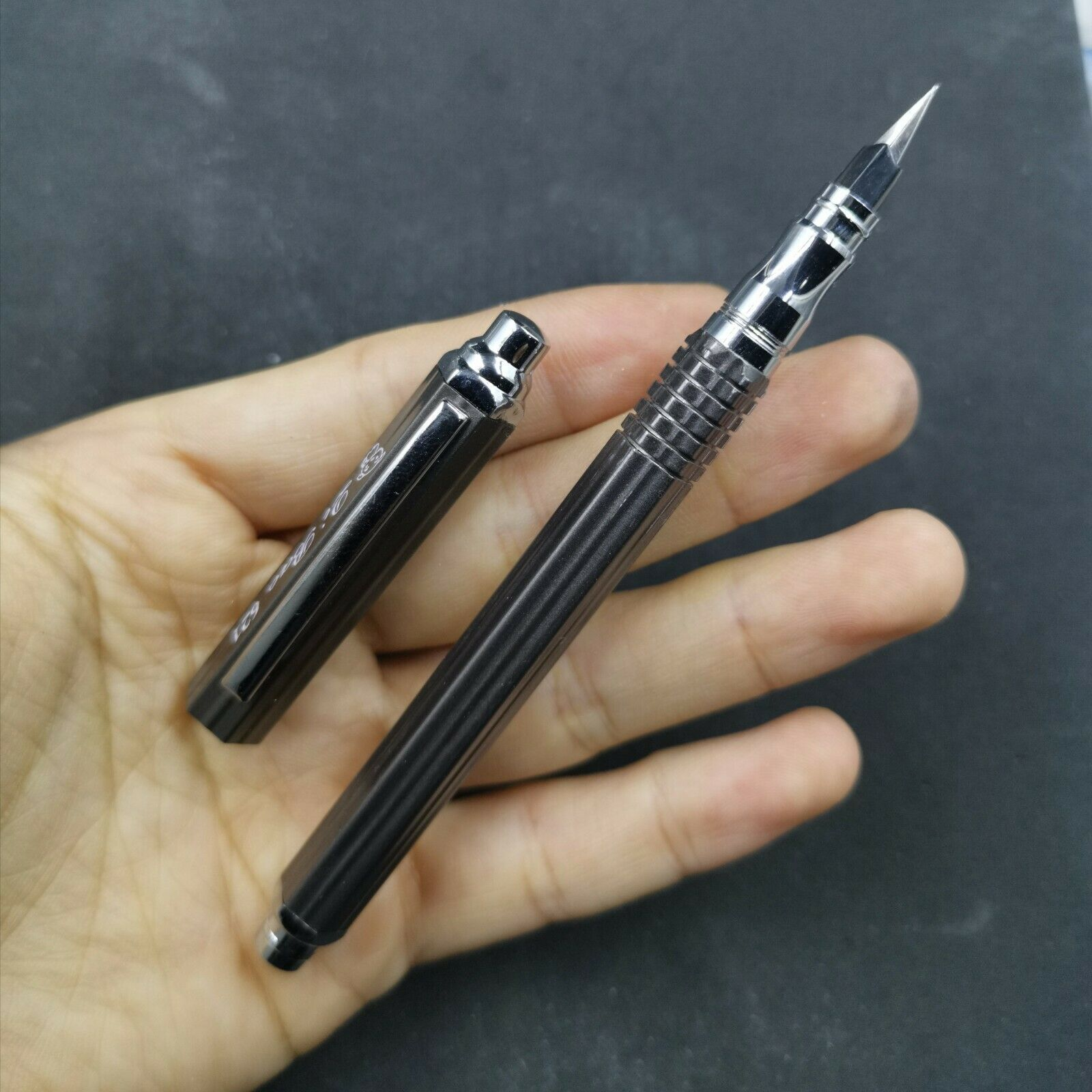 Old Stock Unique Hexagonal QB Gun Black Fountain Pen Aerometric Pen Fine Nib 2010S Stationery Office School Supplies