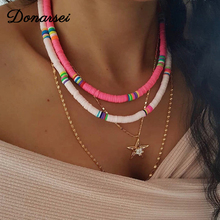 Donarsei 2020 New Fashion 6mm Soft Pottery Choker Necklace For Women Bohemian Adjustable Colorful Clay Collar Necklace Gift