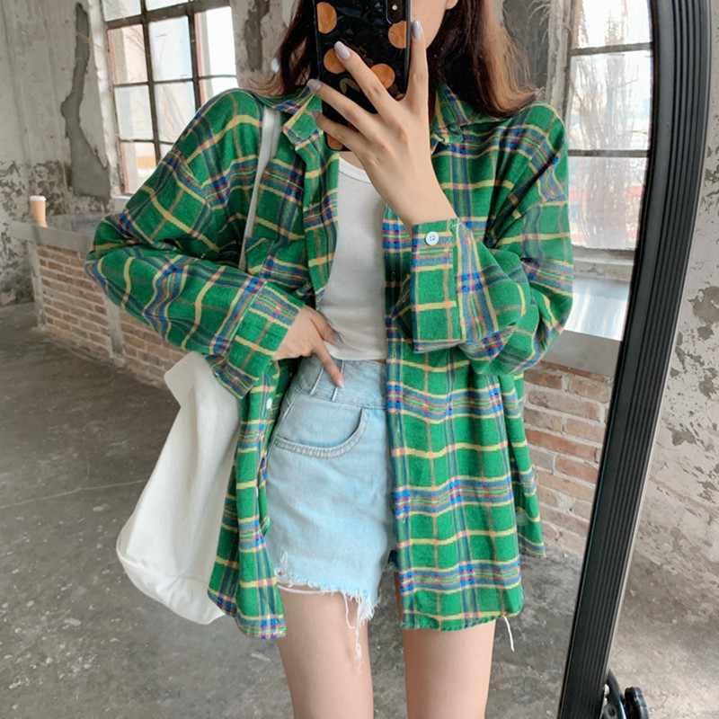 ใหม่แฟชั่นลายสก๊อตเสื้อผู้หญิงเสื้อลำลองแขนยาวเสื้อผู้หญิงเกาหลี 2019 ฤดูใบไม้ร่วงหลวมสุภาพสตรี Blusas Mujer