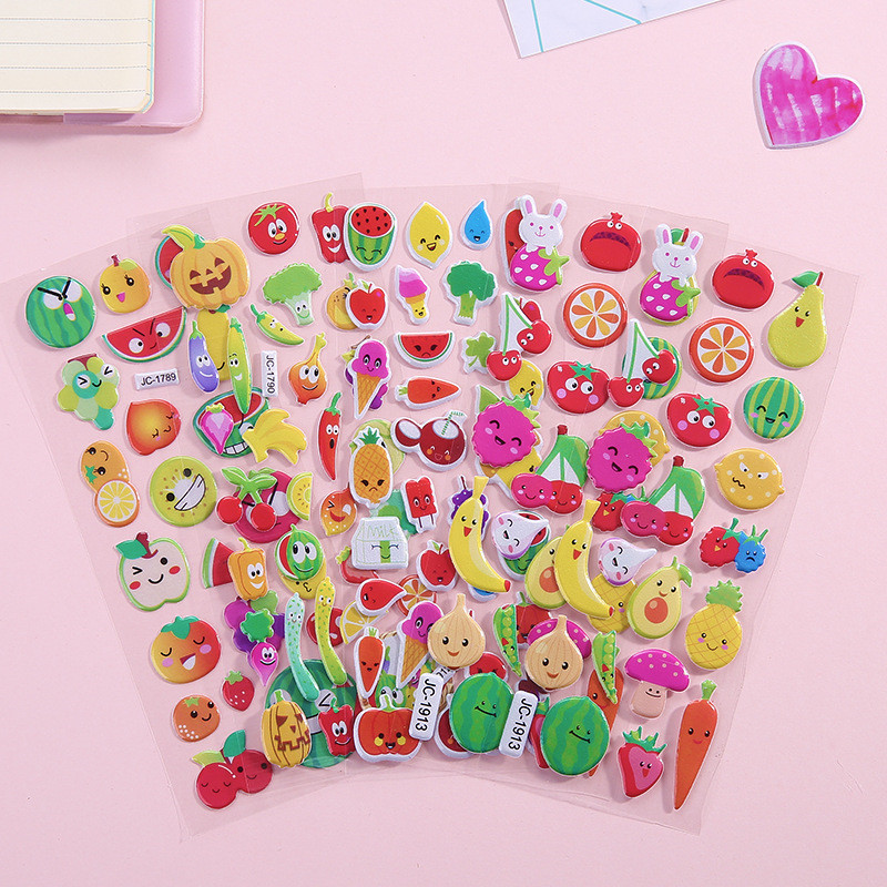 Cute kawaii Bubble Stickers DIY Craft Puffy Bubble 3D Adhesive Stickers Stationery Gift for Kids Cartoon Diary Album Decor